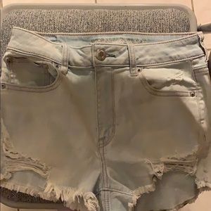 High waisted light wash shorties american eagle